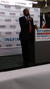 Dr. Carson at Precision Signz for town hall meeting.